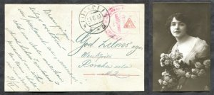 3678 - LATVIA 1920 Wentspils PROVISIONAL Cancel on free-frank Postcard. Woman