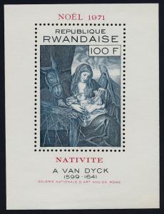 Rwanda 422 MNH Christmas, Art, Nativity, Anthony van Dyck