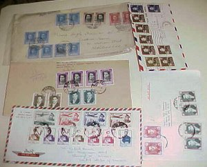 IRAN  10 or MORE STAMP ON EACH OF 4 COVERS 1948,1956,1957,1960 ALL SHAH STAMPS