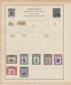 North Borneo & Nigeria Stamps on Album Page ref R18927