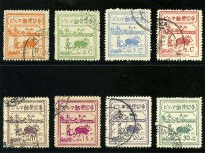 Burma - Jap. Occ 1943 KGVI set complete (one 5c) VFU. SG J73-J81. Sc. 2N30-37.