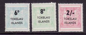 Tokelau-Sc#6-8-Unused NH set-Postal-Fiscal type-1966-
