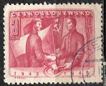 Czechoslovakia; 1948: Sc. # 369: O/Used Cpl. Set
