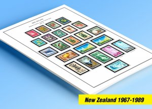 COLOR PRINTED NEW ZEALAND 1967-1989 STAMP ALBUM PAGES (94 illustrated pages)
