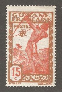 French Guiana 1929, 15c Archer Warrior, Scott # 115,VF MLH*OG (G-2)