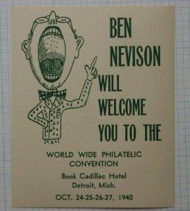 1940 World Wide Philatelic Convention Detroit MI Ben Nevison Souvenir Label Ad