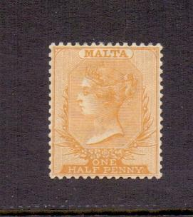 Malta 1860 MH   1/2 d. yellow   2 scans