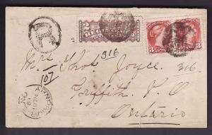 Canada #3018 -  2c RLS+3c(2) Small Queen rose carmine-Front Only-Renfrew County-