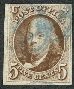 MALACK 1 F/VF, faint blue cancel, nicely stamp! w9569