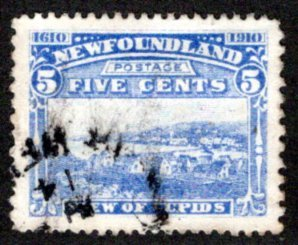 82a, NSSC, Newfoundland, Canada, 5c, VF, Used, John Guy Issue, View of Cupids