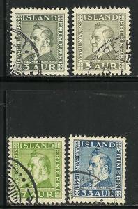 Iceland # 195-8, Used. CV $ 10.00