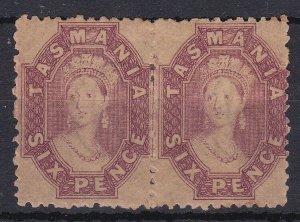 T99) Tasmania 1871-91 6d Dull claret wmk double lined numerals perf 12 SG 143
