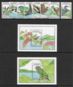 Dominica  1241 - 1250 (SG 1355/63) Birds - 2 S/S - MNH - VF - CV$24.50