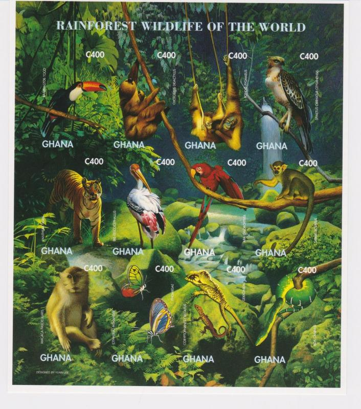 Ghana - Rainforest Wildlife of the World, 1996 - Sc 1862 S/H MNH IMPERFORATE