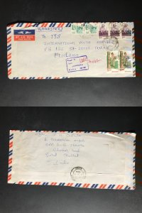 India Registered Cover to Finland City Cancel (1980s-1990s) Cover #634
