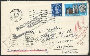 GB SCOTLAND TO ANGOLA 1966 cover returned to sender........................49438