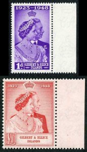 Gilbert and Ellice Is 1948 Royal Silver Wedding SG 57/8 U/M (MNH)