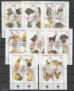 Estonia, 8 Different Local Posts. Dog sheets of 4. Scout logo