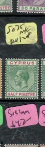 CYPRUS (P2512B) KGV 1/2 PI    SG75  MNG ANTIQUE OVER 100 YEARS OLD