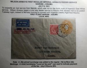 1931 Nairobi Kenya First Flight Cover FFC To Kisumu Wilson Airways
