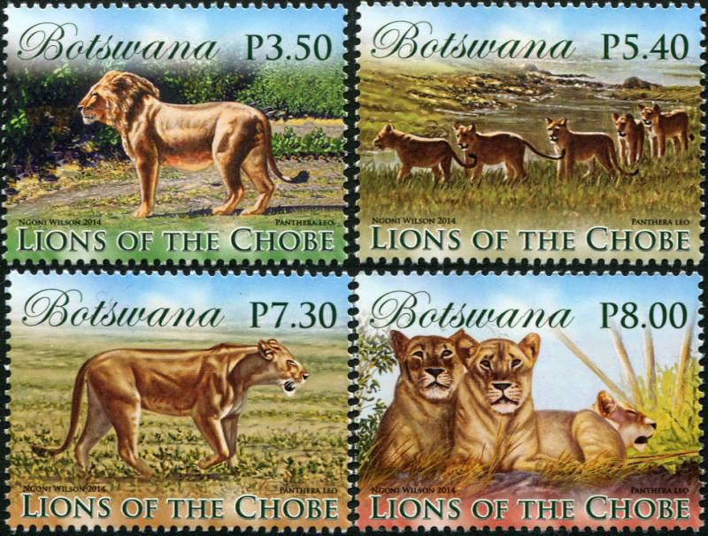 Botswana. 2014. Lions of the Chobe (MNH OG) Set of 4 stamps