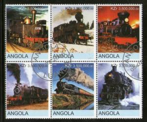 Angola Used Block Of 6 Steam Locomotives 2000