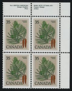 Canada 721 TR Plate Block MNH White Pine