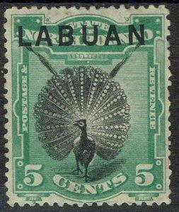 LABUAN 1894 BIRD 5C PERF 13.5-14