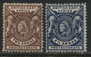 British East Africa QV 1898 2 annas and 2 1/2 annas mint o.g.