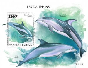 TOGO - 2019 - Dolphins - Perf Souv Sheet  - M N H