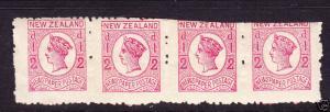 NEW ZEALAND 1875 1/2d NEWSPAPER STRIP 4 MUH P12