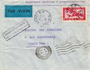 Indochina 36c Airplane 1933 Hanoi R.P. Tonkin Airmail to Paris, France with b...