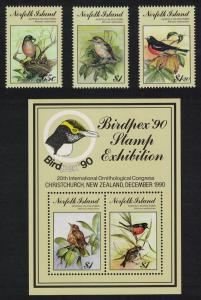 Norfolk Scarlet Robin Birds 3v+MS SG#505-MS508