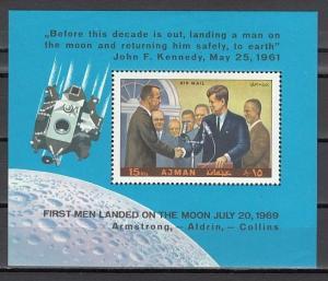 Ajman, Mi cat. 504, BL176 A. President Kennedy & Astronauts s/sheet. ^