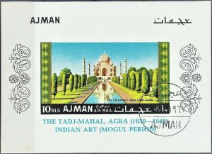 Ajman 1967 souvenir sheet CTO Taj-Mahal art India architecture famous buildings