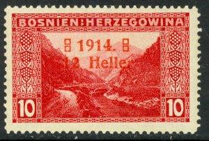 BOSNIA AND HERZEGOVINA 1914 12h on 10h WIDE 4 SEMI POSTAL Sc B2a MNH
