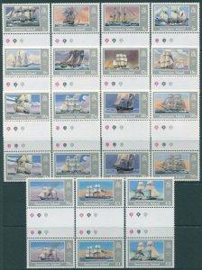 Ascension 1986 SG409-423 Royal Navy Ships gutter pairs set MNH