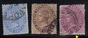 Straits Settlements Scott 45-47 Used  5c Queen Victoria CA wmk,stamps one scuff
