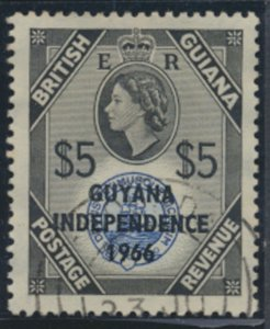 Guyana Opt Independence 1966 SG 385  wmk  script Fine used SC#6   see scans/d...