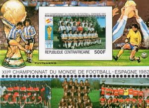 Central African  1981 Sc#C239 World Cup Spain 82 Argentinian Team S/S Imperf.MNH