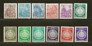 Germany DDR Collection of 12 Different Type A43 & Type O1 Stamps MNH