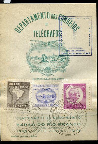 Brazil 1945 card Centenary issue Special cancel Telegraph Rio De Janeiro 7036