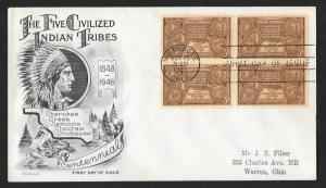 UNITED STATES FDC 3¢ Indian Centennial BLOCK 1948 Fleetwood