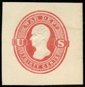 #UO67 30¢ WAR DEPT XF+ UNUSED CUT SQUARE FULL CORNER CV $175 BT4750