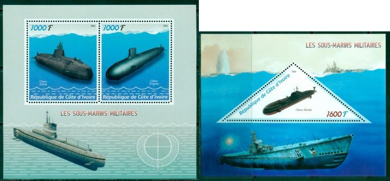 IVORY COAST 2 SHEETS MILITARY SUBMARINES
