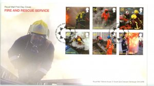 Great Britain 2009 FDC  Fire and Rescue Service Fire Sc# 2680-85