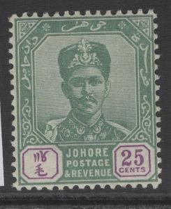 MALAYA JOHORE SG47 1898 25c GREEN & MAUVE MTD MINT