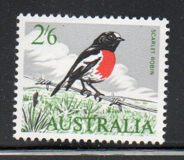 Australia Sc 372 1963 2/ 6d Scarlet Robin stamp mint NH