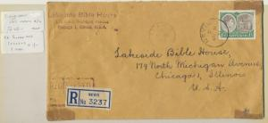 NEVIS 1951, REGISTERED COVER TO USA, 1sh RATE (SEE BELOW)