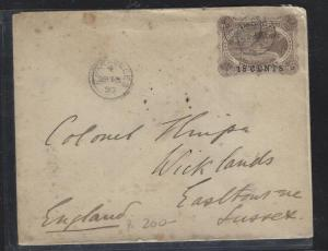 SEYCHELLES COVER (P3105B) 1897 18C SURCH PSE  USED TO ENGLAND
